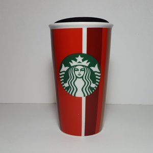 Starbucks 2018 holiday striped ceramic tumbler